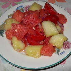 Watermelon, Cherry Tomato, Red Onion and Cucumber Salad