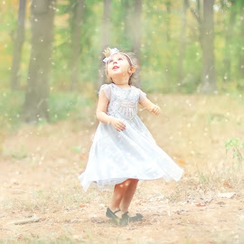 Let it snow by Krystal Ferington-Timozek - Babies & Children Children Candids ( girl child, snow, forest, beauty, toddler, woods )