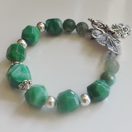 Jade Gemstone Vine Leaf Green Man Bracelet by Janet Skoyles - Artistic Objects Jewelry