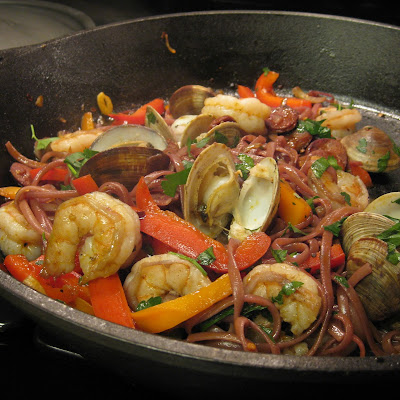 Red Wine Linguini with Clams and Shrimp