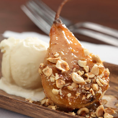 Caramelized Bosc Pears with Hazelnut Butter