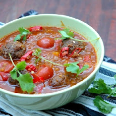 Tomato and Lentil Soup with Spicy Meatballs