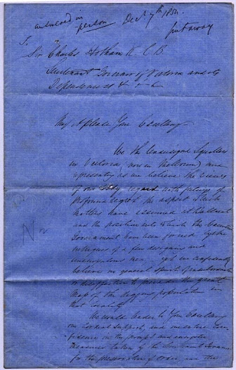 "In this pledge of support dated 7 December 1854, the 'squatting community' demonstrates its loyalty to the Crown, and its approval of and support for the government's actions at Eureka. The squatters also pledge their future support for any measure the Lieutenant Governor Charles Hotham decided would further 'the maintenance of law and the preservation of the community from social disorganisation'. Hotham included a copy of this document as enclosure no. 17 in his despatch no. 162 of 1854 to Sir George Grey, the Home Secretary in England. <a href=""http://wiki.prov.vic.gov.au/index.php/Eureka_Stockade:Squatters_pledge_their_support_to_the_Government"">Click here to see more of this record on our wiki</a>"