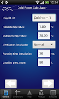 Screenshot of Cold Room Calculator