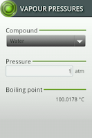 Screenshot of Vapour Pressures
