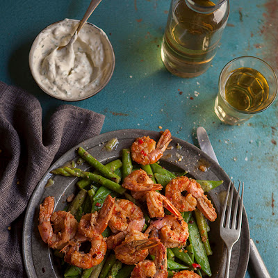 Pan Fried Prawns On A Pea And Asparagus Salad