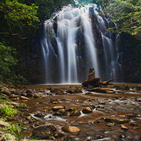 Ellinjaa Falls FNQ by Bevlea Ross - Landscapes Waterscapes