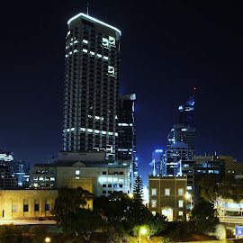 Perth City  by Mark Bentley - City,  Street & Park  Skylines ( cityscapes, perth, low light, cityscape, city, nightscape, night photography, australia, city lights, night, nightscapes, city skyline, western australia,  )