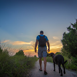 walking into the sun by Mike Pedigo - Animals - Dogs Playing ( sunset, trail, landscape, dog, lab, hike )