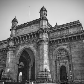 Gate way of India. by Biswaroop De - Buildings & Architecture Statues & Monuments ( tourist attraction, mumbai, black and white, gate way of india, architecture, historical )