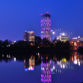 Night reflections by Ion Alexandra - City,  Street & Park  Night ( bucharest city night shot,  )