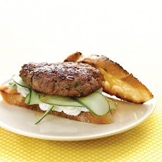 Lamb Burgers with Feta Sauce and Cucumbers