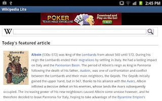 Screenshot of Wikipedia Lite