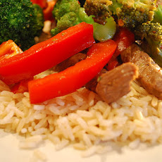Stir Fried Beef with Broccoli and Bell Peppers (Adapted from Cooking Light, July 2009)