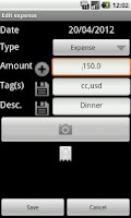 Screenshot of Expense Register