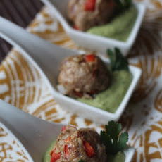 Southwest Meatballs with Creamy Cilantro Dipping Sauce