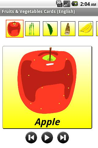 Fruit Vegetable Cards English