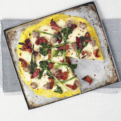 Polenta Tart With Sausage & Broccoli