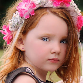 Flower Girl by Cheryl Korotky - Babies & Children Child Portraits ( a heartbeat in time photography, halo, wedding, portfolio, amazing faces, beautiful children, child model nevaeh, flower hairband, pretty, portrait )