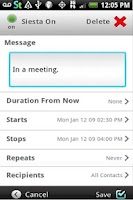 Screenshot of Siesta Text: Auto Away Message