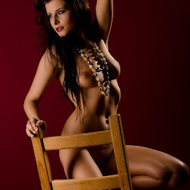 Looking out for Mr. Right by Tomas Fensterseifer - Nudes & Boudoir Artistic Nude ( chair, art nude, nude, low key, jewelry )