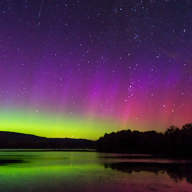 by Blaine Stauffer - Landscapes Starscapes ( waterscape, stars, aurora borealis )