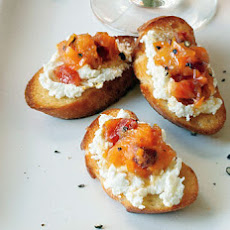Goat Cheese Crostini with Blood Orange and Black Pepper Marmalade