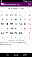 Screenshot of 2015 US Holiday Calendar NoAds