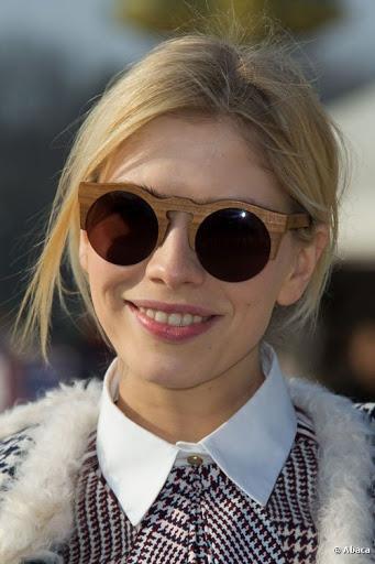 Top Model wearing Wooden Sunglasses