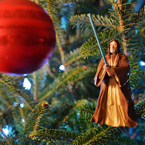 That's no ornament...it's a space station. by Lisa Montcalm - Public Holidays Christmas ( death star, obi wan, ornament, star wars, humor, christmas tree,  )