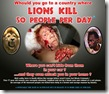 Would you go to a country where Lions kill 50 people per day Poster