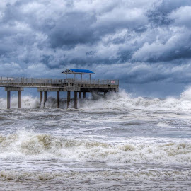 Tropical mischief by Bill Davis - Landscapes Weather ( tropical storm, waves, pier, storm chasing, beach, storm, hurricane )