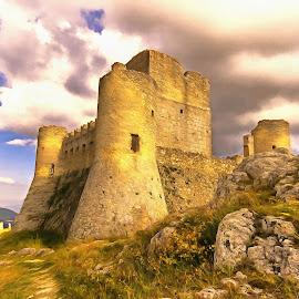 Rocca Calascio by Ivano Mancino - Digital Art Places ( film, ladyhawke, castle, rocca calascio, painting, italy )