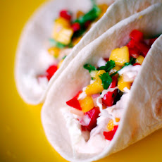 Fish Tacos with Mango Salsa and Cilantro Lime Sauce