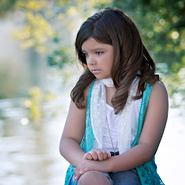 Niyah by Carole Brown - Babies & Children Child Portraits ( brown eyes, lace scarf, sitting by water, brown hair )