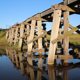 derelict train bridge, Orbost Victoria by Samantha Hamilton - Buildings & Architecture Bridges & Suspended Structures