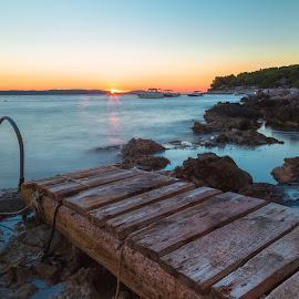 Hvar Sunset by Stephen Bridger - Landscapes Sunsets & Sunrises ( adriatic, europe, sunset, croatia, croatian islands, sea, ocean, travel, hvar, travel photography, dock, island )