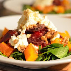 Wintry Spinach, Beetroot and Pumpkin Salad with Caramelized Goat Cheese