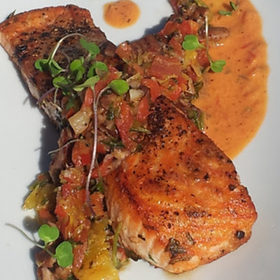 Paleo Salmon with Orange, Pecan and Pepper Relish