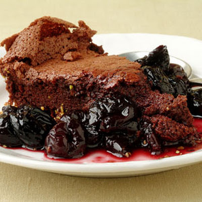 Fallen Chocolate Cake with Cherry Red Wine Sauce