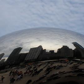 The Bean by Rhonda Silverton - City,  Street & Park  Skylines ( chicago skyline, cloud gate sculpture, skyline, millennium park, chicago, the bean, united states,  )