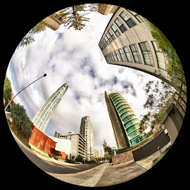 Surfers Morning After by Andrew Rock - City,  Street & Park  Skylines ( circular, fisheye, hdr, australia, high dynamic range,  )