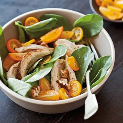 Fava Greens with Chicken, Pecans and Kumquats