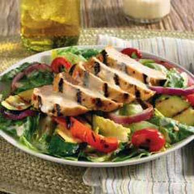 Grilled Vegetables & Chicken With Creamy Goat Cheese