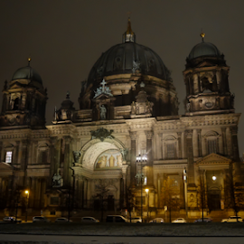 Berliner Dom by Kasia Haldas - Buildings & Architecture Public & Historical ( building, church, nightshot, night scene, night lights, night time, night city, museum, snowing, nightscape, night shots, history, night photo, winter, night photography, night view, buildings, cathedral, berlin, historical, night shoot, night shot,  )