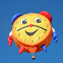 Clock Balloon by Dawn Hoehn Hagler - Transportation Other ( balloon fiesta, hot air balloon, clock hot air balloon, clock, clock balloon, albuquerque balloon fiesta, albuquerque, transportation, balloon )