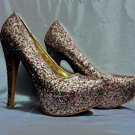 Silver glitter high heels by Michael Moore - Artistic Objects Clothing & Accessories ( shoes,  )