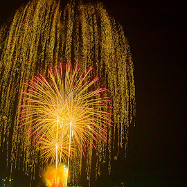 Fireworks by Ariya Namwong - News & Events Entertainment ( water, thailand, fireworks, penny, beach )