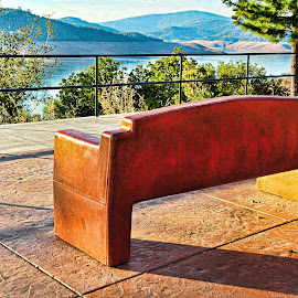 Chair with a view by Frank Ayran - City,  Street & Park  City Parks ( oroville, chair, dam, Chair, Chairs, Sitting )