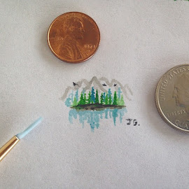 I did this tiny water color painting of a Colorado Mountain Range for my sweet love brittlgaspard I'm going to start a mini-art series, so I'll start taking ideas from you guys. ☺️ Just send me an email with your suggestions to jessegaspardhotmail.com And hopefully I'll get a smaller paintbrush soon to make this easier, lol#love #beautiful #art #miniartseries by Jesse Gaspard - Painting All Painting